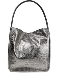 Proenza Schouler L Metallic Cracked-leather Tote Silver