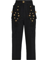 Dolce & Gabbana - Cropped Embellished Embroidered Wool-blend Straight-leg Trousers - Lyst