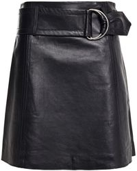 Stand Studio Dianne Belted Leather Mini Skirt - Black