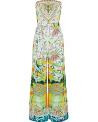 Camilla - Sundowners Strapless Embellished Printed Silk Crepe De Chine Jumpsuit - Lyst
