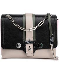 Paula Cademartori - Embellished Color-block Cracked-leather Shoulder Bag Black - Lyst