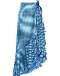 Paper London Lagos Ruffled Prince Of Wales Checked Midi Skirt Blue