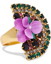 Elizabeth Cole - Gold-tone, Crystal And Resin Ring - Lyst