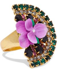 Elizabeth Cole - Woman 24-karat Gold-plated, Crystal And Resin Ring Multicolor - Lyst