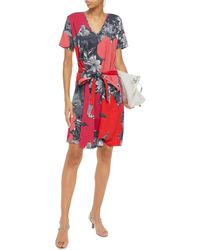 PS by Paul Smith Belted Printed Cotton-blend Jersey Dress - Red