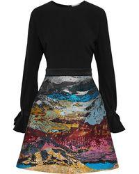 Mary Katrantzou Ligretto Crepe And Metallic Jacquard Mini Dress - Black