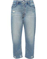 Mother - Woman Cropped Distressed Boyfriend Jeans Mid Denim - Lyst