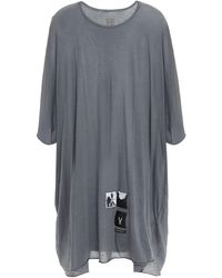 Rick Owens Drkshdw Appliquéd Slub Cotton-jersey Tunic Anthracite - Grey