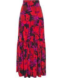 Veronica Beard Serence Gathe Printed Floral-print Stretch-silk Maxi Skirt - Red