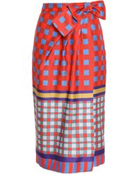 Stella Jean Bow-embellished Checked Twill Skirt Red