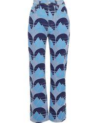 Acne Studios Halbhohe Jeans Mit Geradem Bein Und Print - Blau