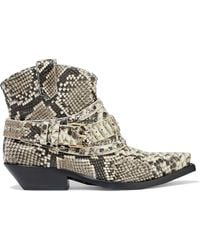 Zimmermann Buckled Snake-effect Leather Ankle Boots Animal Print - Multicolour