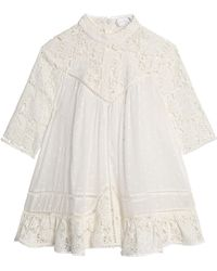 Zimmermann | Guipure Lace-paneled Swiss-dot Cotton-voile Blouse | Lyst