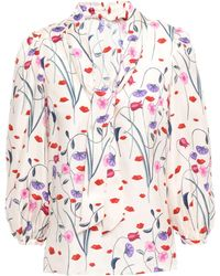 Borgo De Nor Maggie Floral-print Knotted Silk-twill Blouse Ivory - White