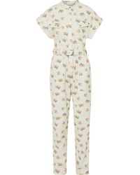 Rebecca Vallance Hadi Belted Floral-print Cotton-twill Jumpsuit - White