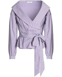 MILLY - Woman Charlie Pinstriped Cotton-poplin Wrap Top Lavender - Lyst