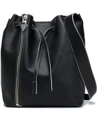Elena Ghisellini - Woman Zipper-detailed Leather Bucket Bag Black Size -- - Lyst