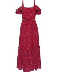 10 Crosby Derek Lam Cold-shoulder Belted Printed Silk-blend Midi Dress - Red