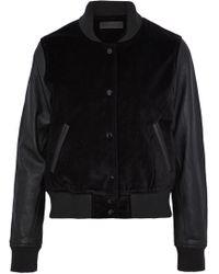 Rag & Bone - Leather-paneled Velvet Bomber Jacket - Lyst