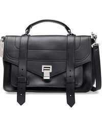 Proenza Schouler Ps1 Textured-leather Shoulder Bag Black