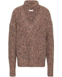 Cinq À Sept Cutout Marled Knitted Sweater Sand - Multicolor