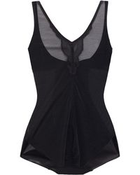 Wacoal Vision Lace-trimmed Satin-jersey And Stretch-tulle Bodysuit - Black
