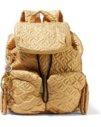 See By Chloé - Metallic Quilted Shell Backpack - Lyst
