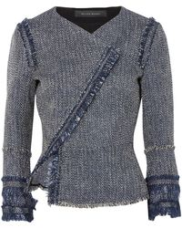 Roland Mouret - Kirkham Cotton-blend Bouclé-tweed Jacket Navy - Lyst