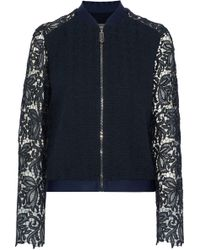 4f72f33c6 Lyst - Moncler Guipure Lace Zip Front Jacket in Black