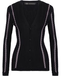 Versace - Embroidered Ribbed Wool-blend Cardigan - Lyst