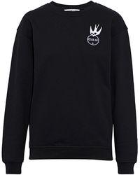 McQ Appliquéd Embroidered French Cotton-terry Sweatshirt Black
