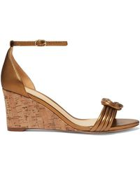Alexandre Birman Vicky Knotted Leather Wedge Sandals - Brown