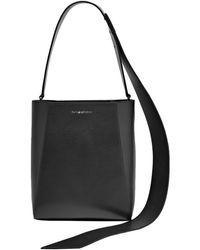 CALVIN KLEIN 205W39NYC Buck Stripe Suede-paneled Leather Shoulder Bag Black