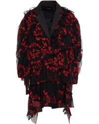 Simone Rocha Embroidered Gathered Tulle Blazer - Black