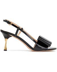 Valentino Garavani Bow-embellished Patent-leather Slingback Sandals - Black