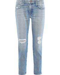 Current/Elliott The Fling Distressed Boyfriend Jeans Light Denim - Blue