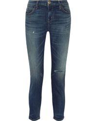Current/Elliott - The Selvedge Easy Stiletto Faded Mid-rise Skinny Jeans Mid Denim - Lyst
