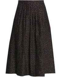 Vanessa Seward - Pleated Polka-dot Cotton And Silk-blend Skirt - Lyst