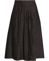 Vanessa Seward - Woman Pleated Polka-dot Cotton And Silk-blend Skirt Black - Lyst