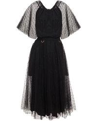 Maria Lucia Hohan Shani Embellished Belted Tulle Midi Dress - Black