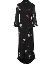 Ganni - Woman Lorita Floral-print Georgette Maxi Wrap Dress Black - Lyst