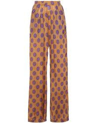 MM6 by Maison Martin Margiela Printed Silk Wide-leg Trousers Camel - Purple