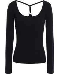 Bailey 44 Cutout Ribbed-knit Top Midnight Blue