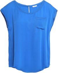 Joie - Woman Silk Crepe De Chine Top Blue - Lyst