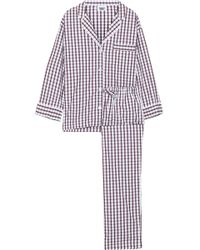 Sleepy Jones Marina Checked Cotton-poplin Pajama Set Off-white
