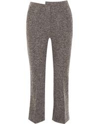 Atlein Cropped Wool-blend Tweed Bootcut Trousers Anthracite - Grey