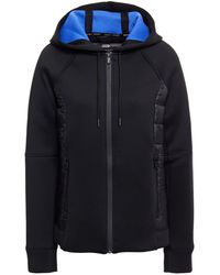DKNY Shell-paneled Quilted Scuba Hooded Jacket - Black