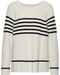 Soft Joie - Woman Isabeth Striped Ribbed Cotton-blend Jumper Ecru - Lyst