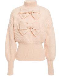 Zimmermann Bow-embellished Ribbed Mohair-blend Jumper Blush - Multicolour