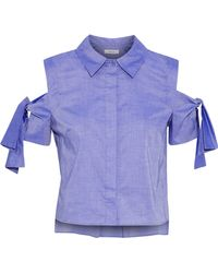 MILLY Paris Cold-shoulder Cotton-chambray Shirt Indigo - Blue